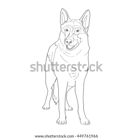 Coloring Book Vector German Shepherd Sheepdogs And Service Detection Dogs Security Breed Favorite Pets Friend