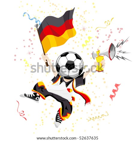 German Soccer Fan with Ball Head. Editable Vector Illustration - stock vector