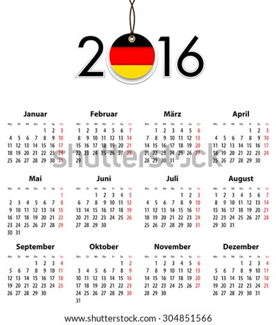 German Solid calendar for 2016 with flag like tag. Mondays first. Vector illustration - stock vector