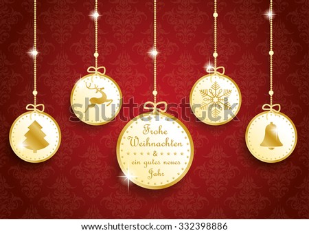"""German text """"Frohe Weihnachten, ein gutes neues Jahr"""", translate """"Merry Christmas and happy new year"""". Eps 10 vector file. - stock vector"""