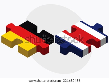 Germany and Costa Rica Flags in puzzle isolated on white background
