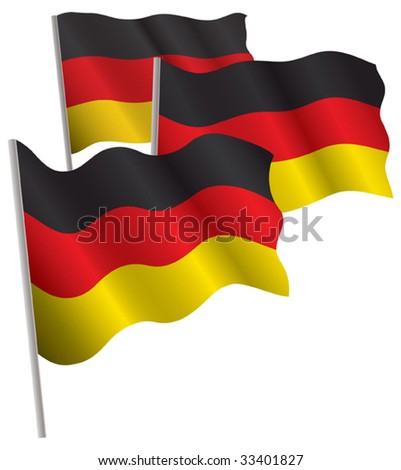 Germany 3d flag. Vector illustration. Isolated on white.