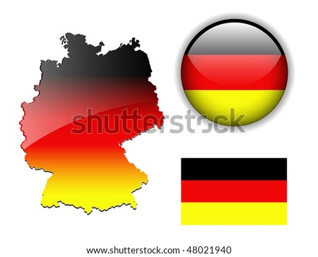 Germany, Deutschland flag, map and glossy button, vector illustration set.