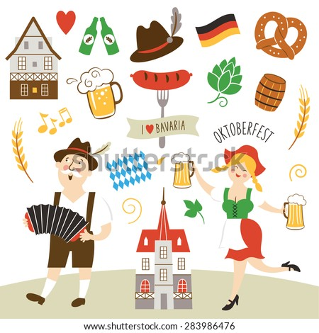 Germany elements collection illustration - stock vector