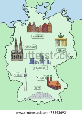 germany famous places on a doodle map berlin hamburg cologne frankfurt