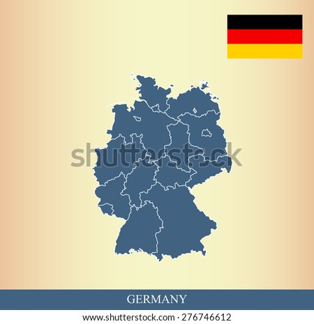 Germany flag and map outlines with boundaries of counties or provinces or states on an abstract background, vector map of Germany with German Flag  - stock vector