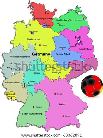 Germany football map illustration - stock vector
