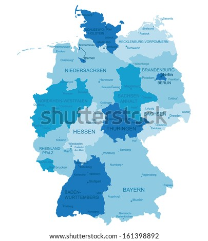 Germany-highly detailed map.All elements are separated in editable layers clearly labeled. Vector  - stock vector