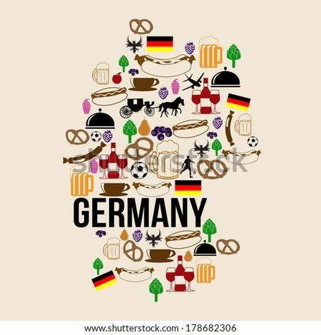 Germany landmark map silhouette icon on retro background, vector illustration - stock vector
