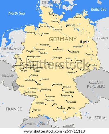 Germany Map Stock Vector 263911118 Shutterstock