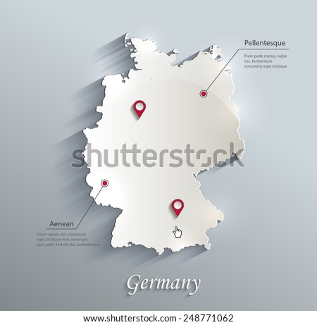 Germany map blue white card paper 3D vector  - stock vector