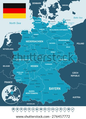 Germany map, flag and navigation labels - illustration - land contours - country and land names - city names - water object names - flag - navigation icons