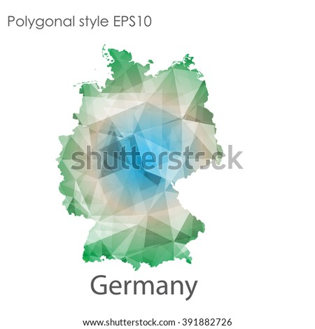 Germany map in geometric polygonal style.Abstract gems triangle,modern design background. - stock vector