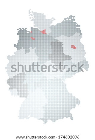 Germany map raster - the states are grouped - stock vector