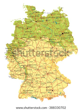 Germany map, relief, cities, lakes and rivers