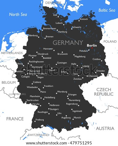 germany map vector detailed color germany map