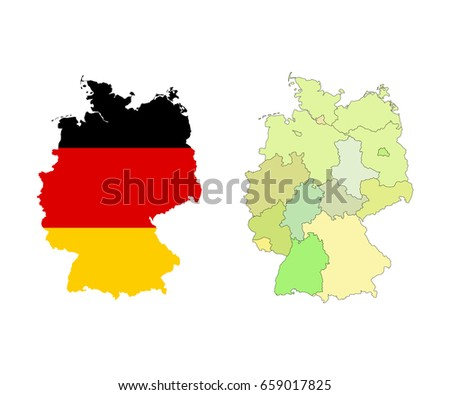 germany map with colorful regions borders and flag isolated on white vector illustration