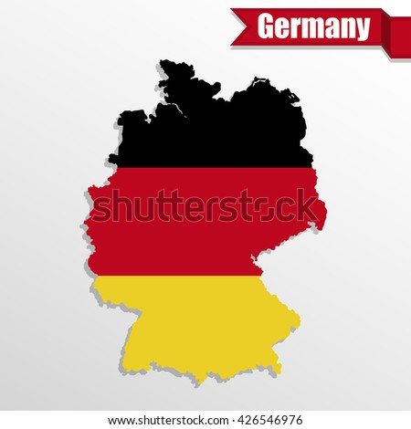 Germany map with Germany flag inside and ribbon - stock vector