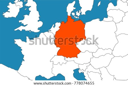Germany On Map Europe Stock Vector 778074655 Shutterstock