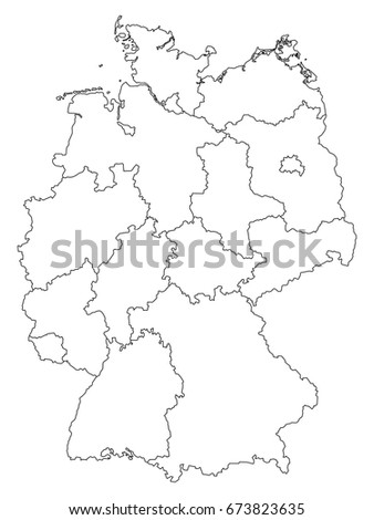 Germany Outline Map Federal States Isolated Stock Vector - Outline map of germany with states