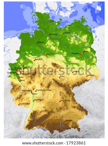 Germany. Physical vector map, colored according to elevation, with rivers, ocean depths and selected cities. Surrounding territory greyed out. 36 layers, fully editable. Data source: NASA