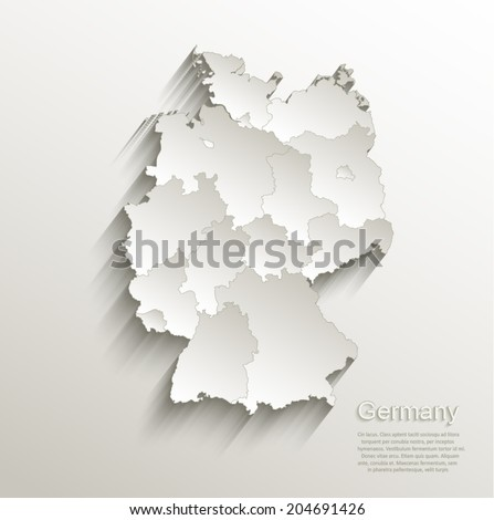 Germany political map card paper 3D natural vector individual states separate - stock vector