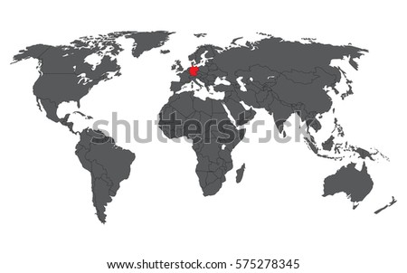 Germany Red On Gray World Map Stock Vector 575278345 Shutterstock