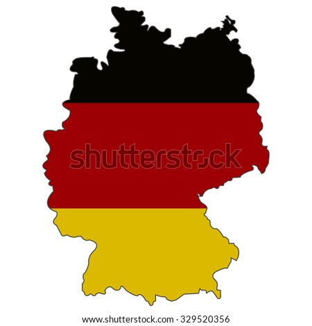 Germany State flag and territorial borders combination. Vector illustration - stock vector