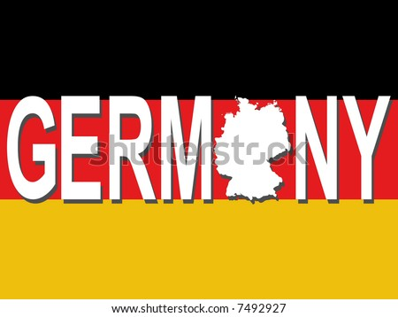Germany text with map on German flag illustration