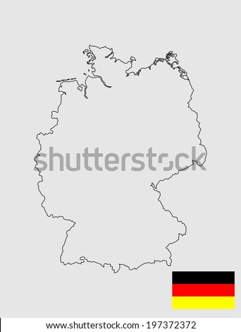 Germany vector map and vector flag isolated on white background. High detailed silhouette illustration.  - stock vector