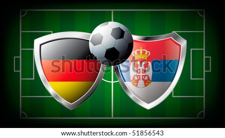 Germany versus Serbia abstract vector illustration isolated on white background. Soccer match in South Africa 2010. Shiny football shield of flag Germany versus Serbia - stock vector
