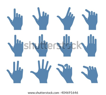Gesture icons for touch devices. Vector icon set for a mobile app user interface or manual - stock vector