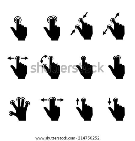 Gesture Icons Set for Mobile Touch Devices. Vector illustration - stock vector