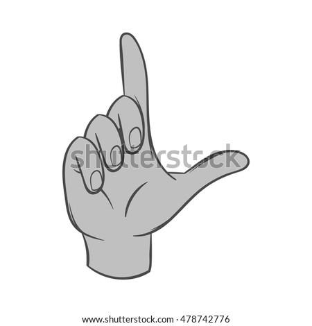 Gesture idea icon in black monochrome style isolated on white background. Gestural symbol. Vector illustration