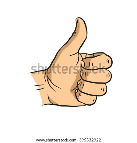 Gesture thumb up which can be used for approval - stock vector