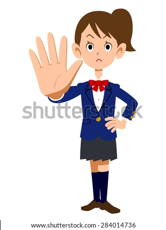 Gesture to stop the uniforms of female students - stock vector