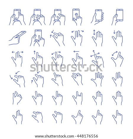 Gesture touch icons. Clean and simple vector icons for an app user interface or manual. Linear style - stock vector