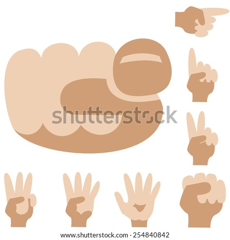 Gestures. Fingers in different positions. Set. - stock vector