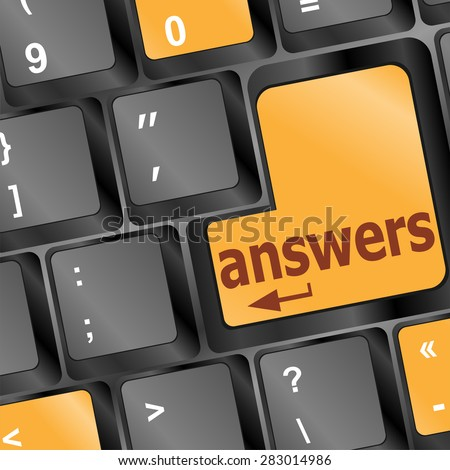 get answers concept on the modern keyboard keys, vector - stock vector