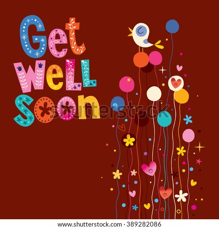 Get well soon greeting card - stock vector