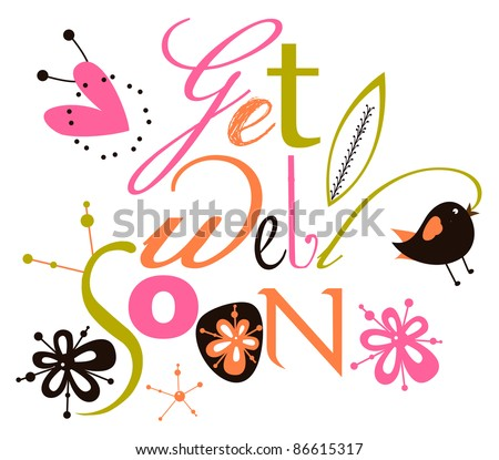 Get well soon script card - stock vector