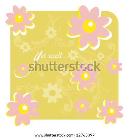 Get well vector greeting card