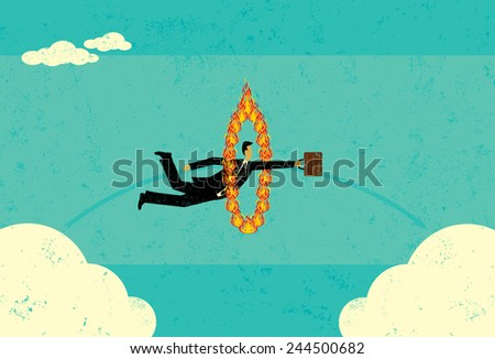 Getting from A to B A businessman jumping through a fire hoop and realizing that sometimes it's difficult to get from A to B. The man and fire hoop are on a separate labeled layer from the background. - stock vector
