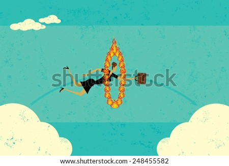 Getting from A to B A businesswoman jumping through a fire hoop and realizing that sometimes it's difficult to get from A to B.  - stock vector