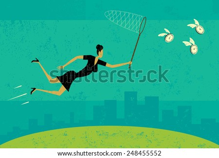Getting more time A businesswoman trying to get more time with a butterfly net. The woman and background are on separate labeled layers. - stock vector