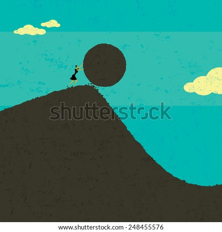 Getting the ball rolling A businesswoman getting the ball rolling. The woman & boulder and background are on separate labeled layers. - stock vector