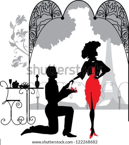 Getting up on his knee a man proposes a woman to marry/ Marriage proposal - stock vector