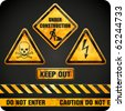 Ggrungy danger signs. Vector illustration - stock photo
