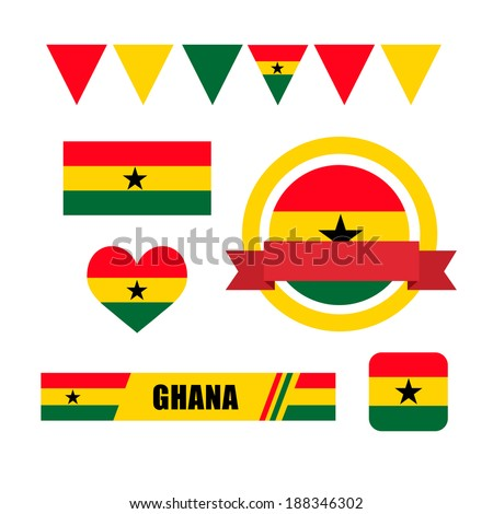 Ghana flag, banner and icon patterns set illustration