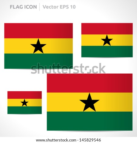 Ghana flag template   vector symbol design   color red yellow green and black   icon set - stock vector